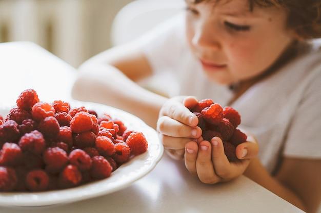 Mignon beau petit garçon mangeant des framboises fraîches. alimentation saine, enfance et développement.