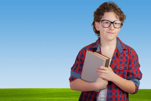 Mignon, école primaire, garçon, tenue, livre