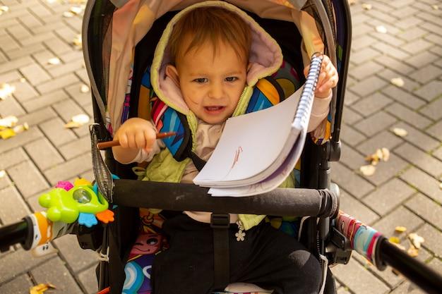Mignon petit bambin est méchant et assis dans une poussette dans le parc d'automne