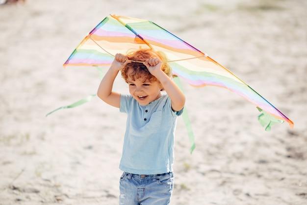 Mignon petit enfant dans un champ d'été avec un cerf-volant