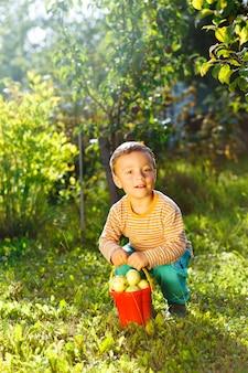 Mignon petit garçon aidant dans le jardin