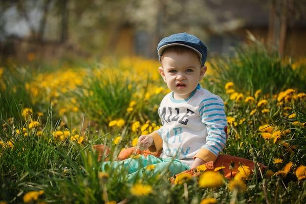 Mignon petit garçon avec pissenlits