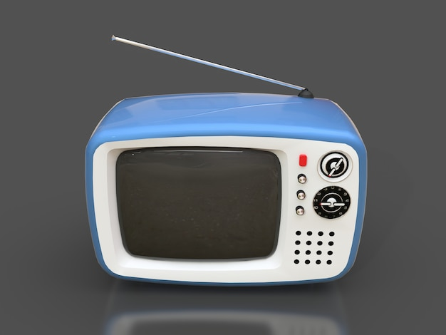 Mignon vieux téléviseur bleu avec antenne sur une surface grise