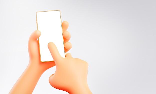 Mignonne main tenant et touchant le modèle de maquette de téléphone rendu 3d