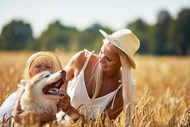 Mignonne petite fille avec maman et chien sur le champ de blé heureuse jeune famille profiter du temps ensemble à la nature maman petite fille et chien husky reposant à l'extérieur ensemble amour bonheur concept