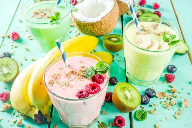 Milkshakes ou smoothies rafraîchissants