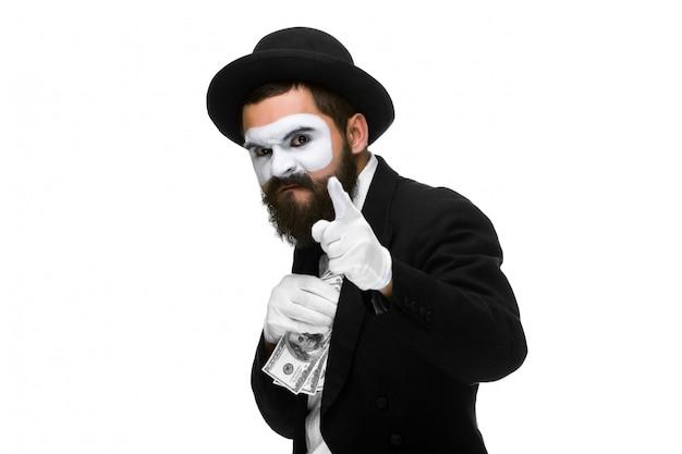Mime, homme affaires, mettre, argent, poche