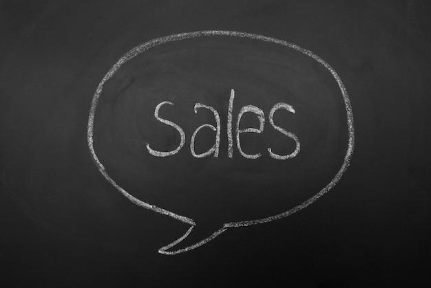 Minddialogue bubble sur tableau noir avec les ventes d'inscription. mot écrit à la main.