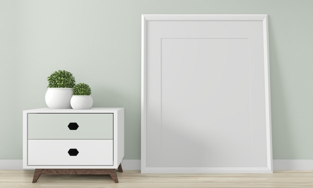 Mini armoire japon design minimaliste et décoration de maquette sur des décors de pièce zen.3d rednering