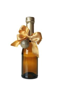 Mini bouteille de champagne de nouvel an isolated on white
