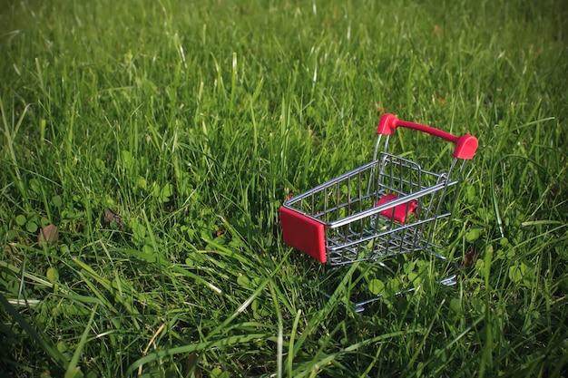 Mini chariot chariot sur fond d'herbe verte. espace de copie, concept de shopping, de vente et de marketing.