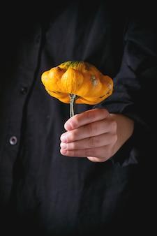 Mini citrouille dans les mains de l'enfant