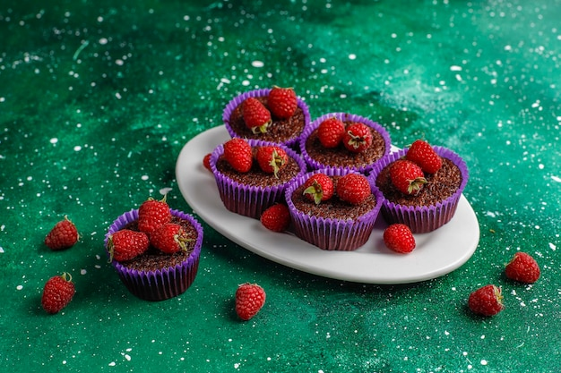 Mini Cupcakes Au Chocolat Aux Framboises. Photo gratuit