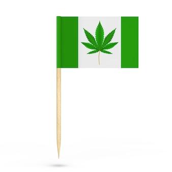 Mini drapeau de pointeur de papier avec la marijuana médicale ou le signe de feuille de chanvre de cannabis sur un fond blanc. rendu 3d