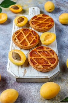 Mini tarte aux abricots rustique faite maison ou tartes aux fruits frais d'abricot.
