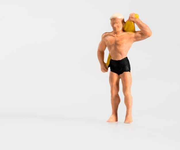 Miniature, homme, dessécher, dos, serviette