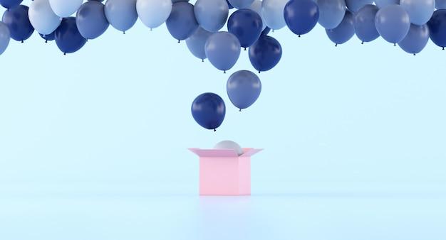 Minimal de ballons de différentes couleurs flottant hors de la boîte rose
