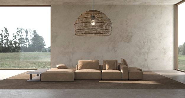 Minimalisme intérieur moderne design scandinave studio lumineux salon illustration de rendu 3d