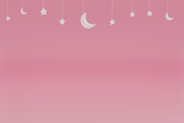 Minimaliste rose avec des étoiles ramadan kareem pour événements vacances et etc. rendu d'illustration 3d