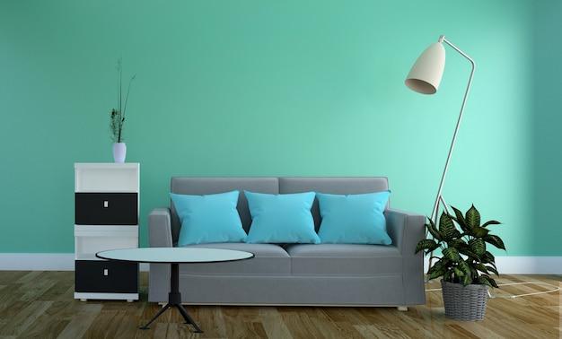 Mint wall - salon avec canapé et lampe. rendu 3d