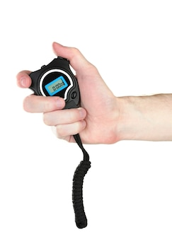 Minuterie de sport électronique en main isolé sur blanc