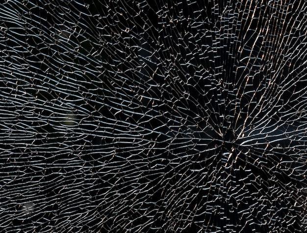 Miroir cassé par balle, fond de verre