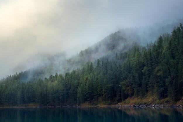 Mise au point douce. silhouettes de colline de sapin le long du lac de montagne dans un brouillard dense. reflet de conifères dans l'eau bleue. paysage alpin tranquille au frais tôt le matin. paysages atmosphériques fantomatiques.