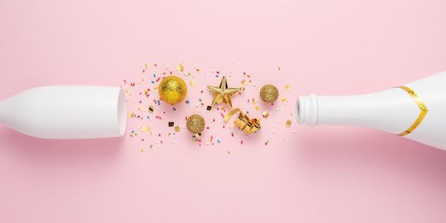 Mise en page créative avec bouteille de champagne et verre de champagne.
