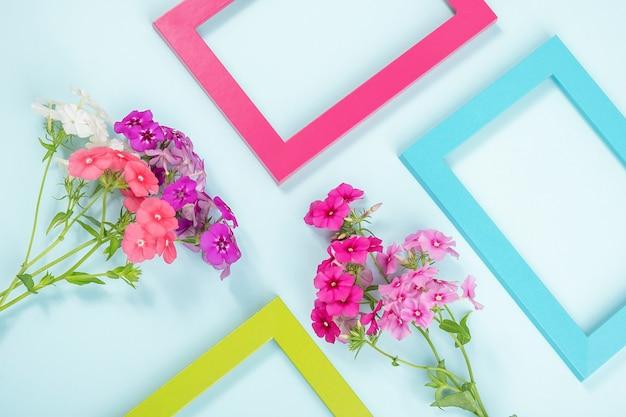Mise en page créative faite de fleurs et de cadres de couleurs vives sur bleu.