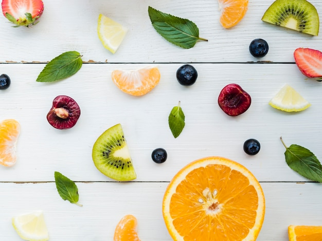 Mise en page créative de fruits