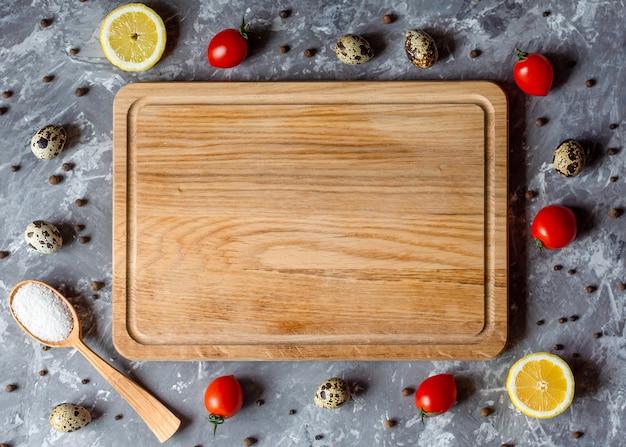Mise en page planche à découper cuisson cuisine cadre endroit texte