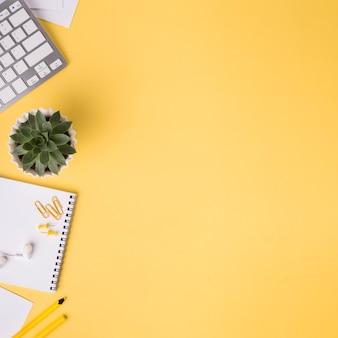 Mise à plat du bureau avec succulentes et cahier