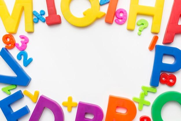 Mise à plat du cadre alphabet coloful