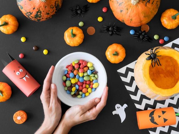 Mise à plat du concept d'arrangements d'halloween