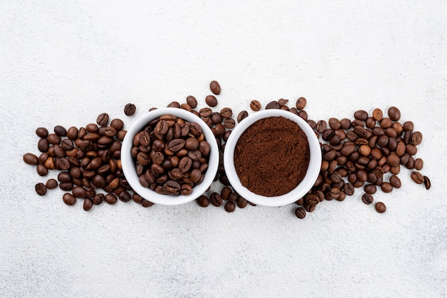 Mise à plat du concept de café avec espace copie