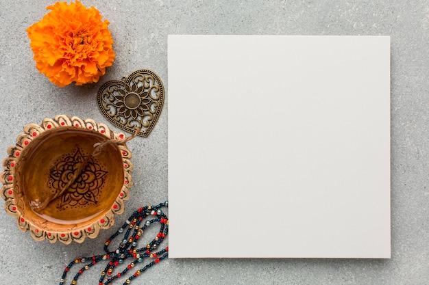 Mise à plat du concept de diwali avec espace copie