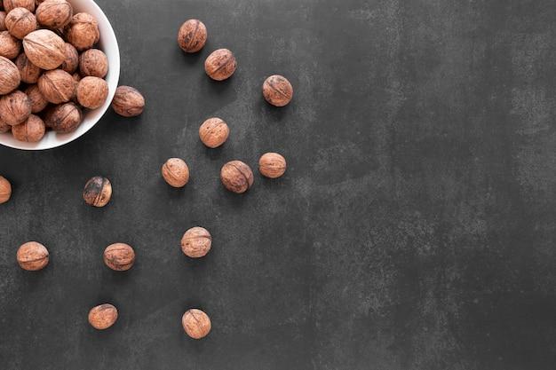 Mise à plat du concept de noix avec espace copie