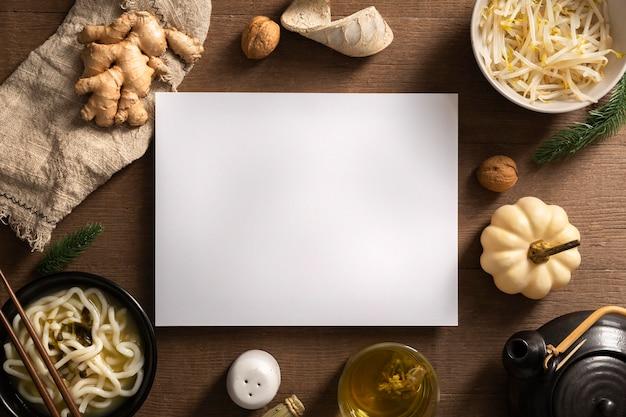 Mise à plat du concept de nourriture délicieuse avec espace copie