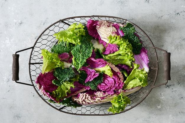 Mise à plat. feuilles de laitue de savoie et de chou laqué