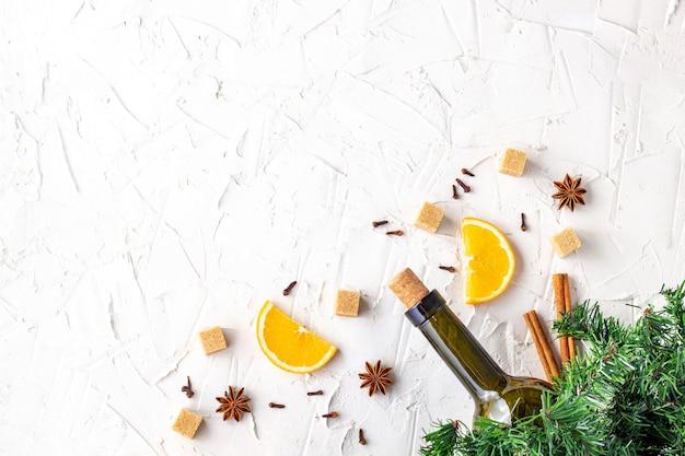 Mise à plat des ingrédients pour noël au vin chaud