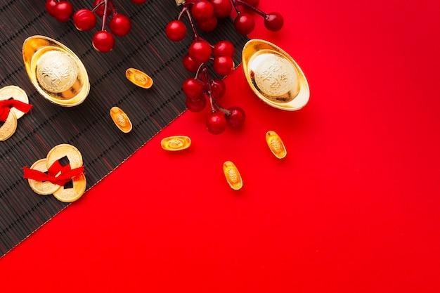 Mise à plat nouvel an chinois 2021 copie espace fond rouge