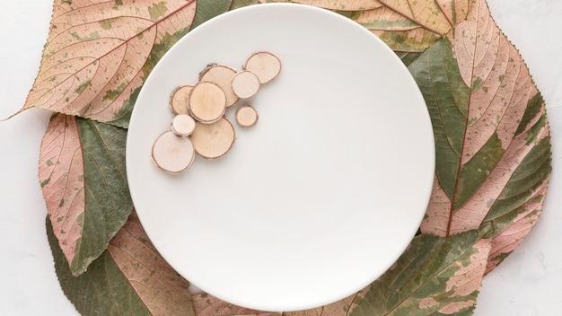 Mise à plat de la plaque avec des feuilles d'automne
