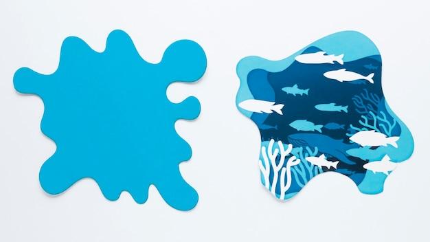 Mise à plat de taches de papier pour le jour de l'océan