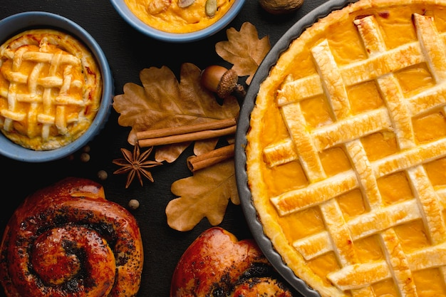 Mise à plat de tarte à la citrouille pour thanksgiving
