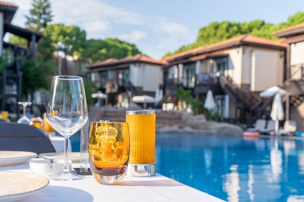 Mise en table. verres vides sur le fond de la piscine et des villas de l'hôtel. service des clients à l'hôtel en été en vacances, arrière-plan