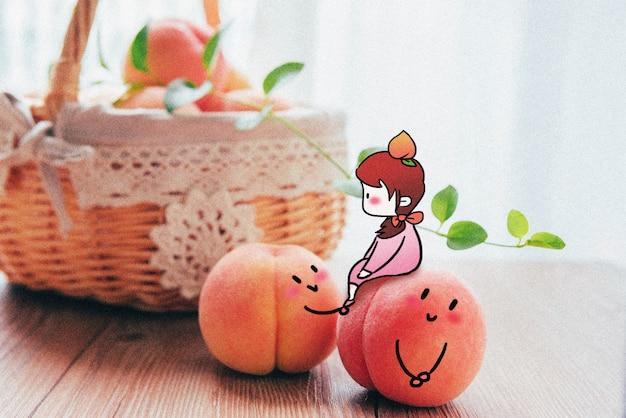 Miss peach: illustration de photographie créative mélangée