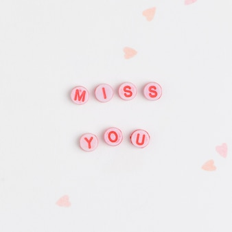 Miss you perles typographie de message