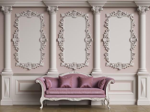 Mobilier classique dans un intérieur classique avec espace de copie.murs avec moulures ornées.parquet de sol.illustration numérique.rendu 3d