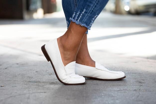 Mocassins en cuir blanc chaussures mode femme