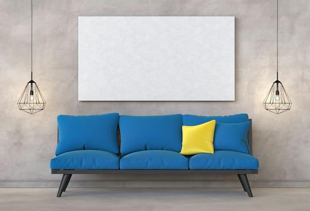 Mock up image frame en fond de salon moderne intérieur hipster